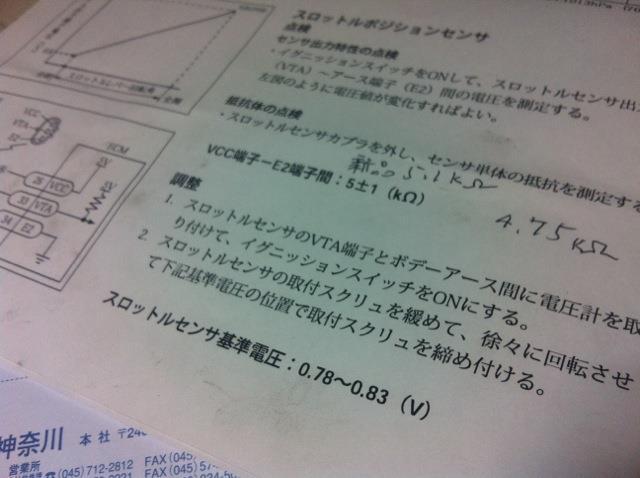 スロットルポジションセンサー交換日記。
