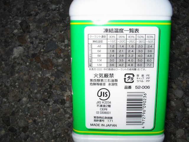 ラジエータ液の排出および充填