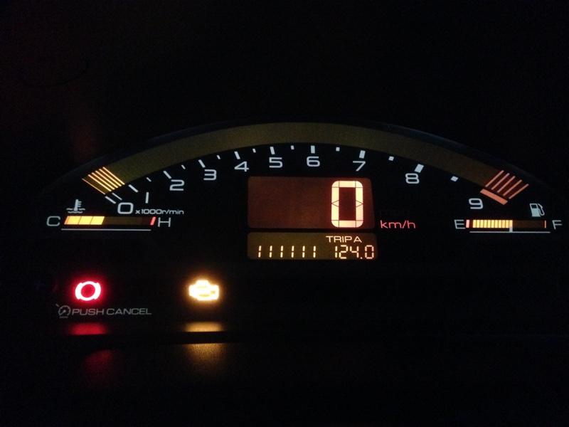 111,111キロとエンジンチェックランプ