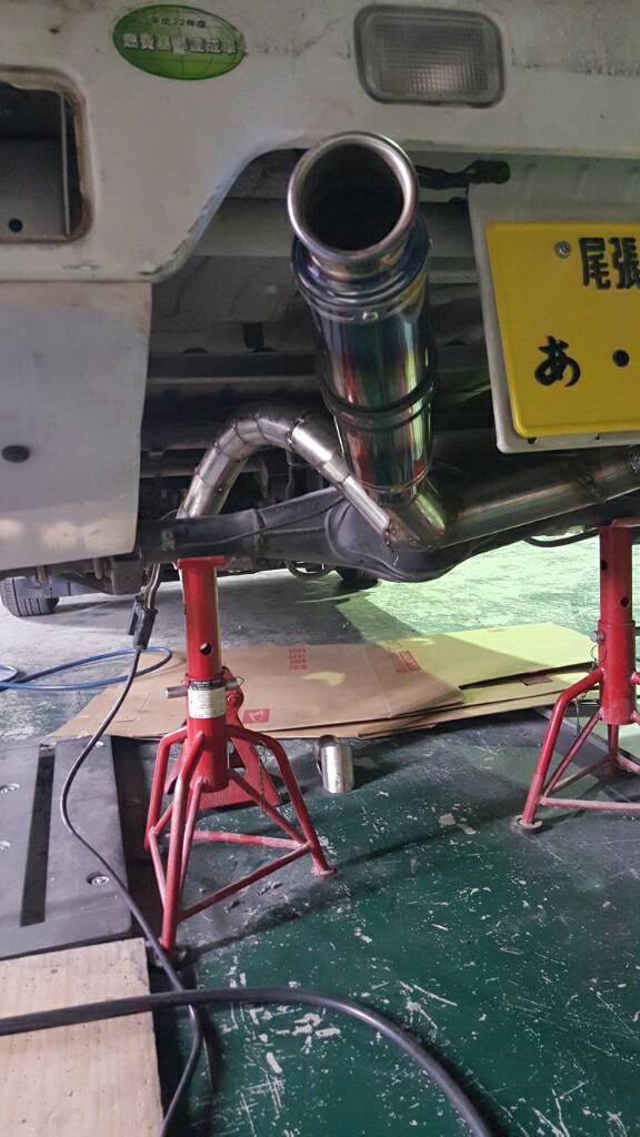 単車サイレンサーでマフラー製作