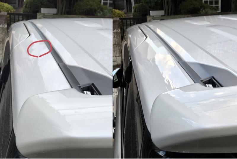 ルーフサイドの凹み  デントリペア修理