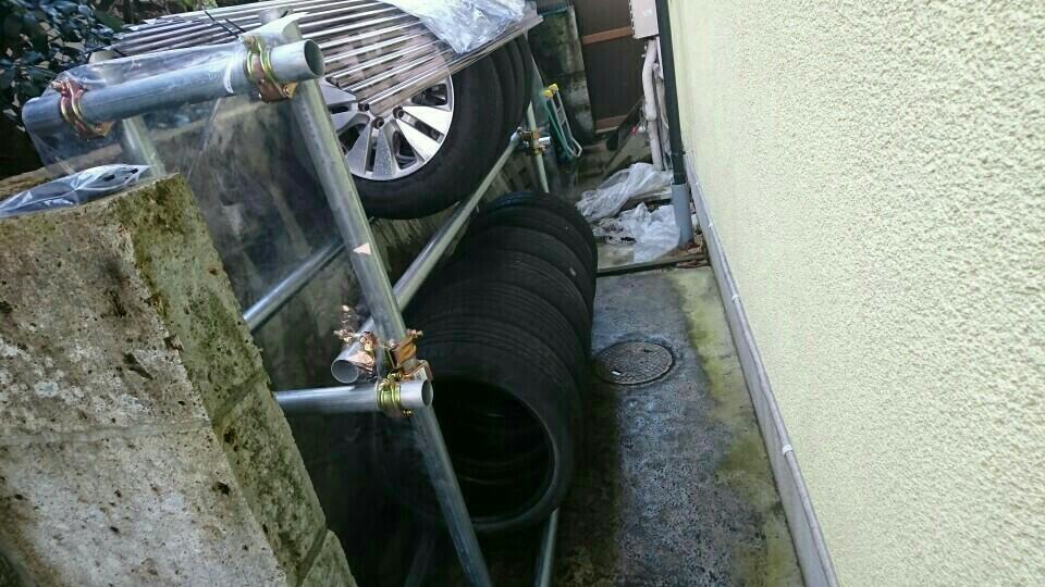 自作 単管タイヤラック