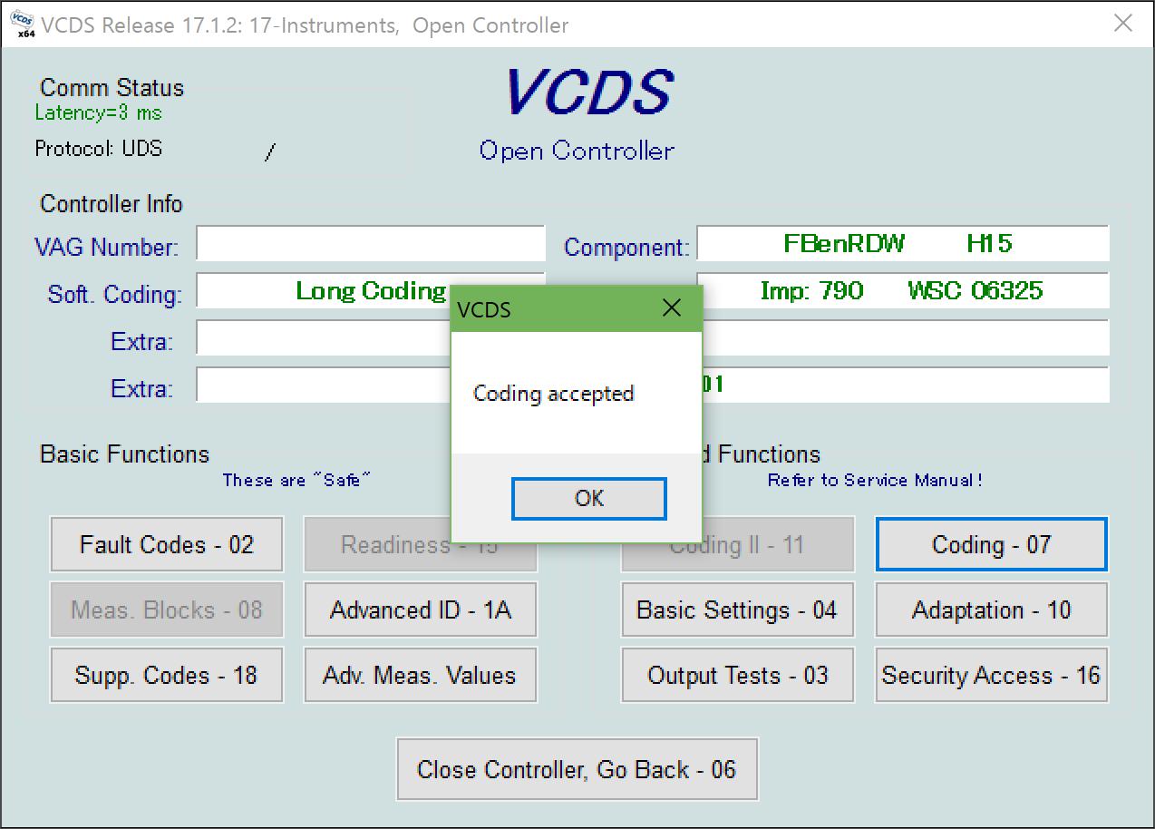 A4(8W/B9) VCDSコーディング ニードルスイープ on VC   アウディ A4