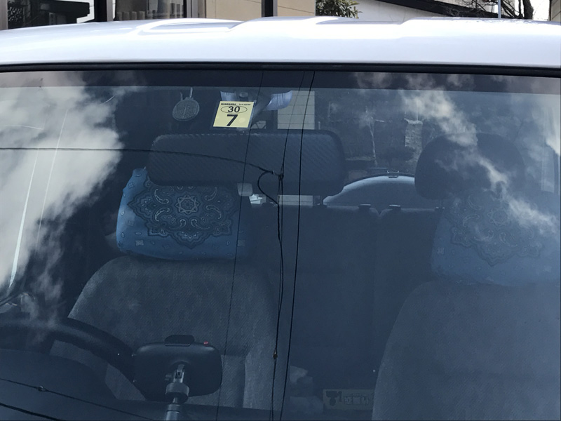 バックミラーカーボン調シート貼付