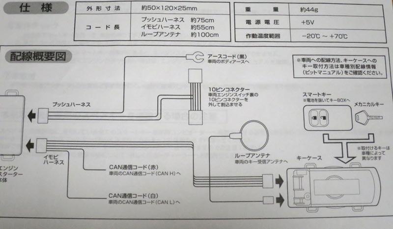 これはプッシュスタート車対応アダプター2の<br /> TE157の配線図です<br /> <br /> プッシュハーネス側はアースコードを繋ぎ<br /> 10ピンコネクターはエンジンスイッチをパネルから外し取り付けます<br /> <br /> イモビハーネス側はループアンテナを付けるのみで<br /> ※CAN通信コードは接続しません<br /> アルト ターボRSと違いワークスではCAN信号の検出によるエンジンスタートが出来ないからです<br /> <br /> キーケースに電池を抜いたスマートキーを組み込むのはターボRSと同じなので<br /> 他の方の取り付け方を参考にしてください