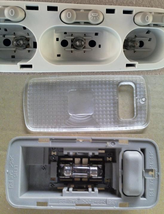 フロントのルームランプはT10タイプが、リヤシート以下のルームランプにはT10×31とかS7/8と呼ばれる電球が使用されていた。