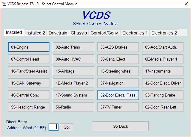 VCDSコーディング(リバース時ミラーダウン)