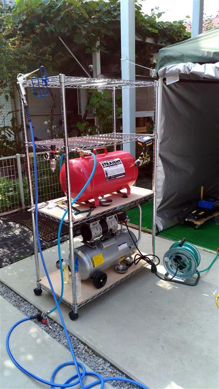 エアコンプレッサー + サブタンク設置 ①