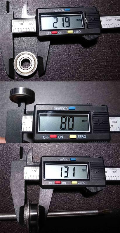 情報も皆無で事前に計測するのも面倒なので車種別のベアリングキットを輸入してみたが、調べると同じサイズのベアリングは国内でも単体で購入可能、しかも自分が購入した金額の10分の1程度で購入出来るらしい。<br /> <br /> ベアリングのサイズは外径22mm・内径8mm、付属のワッシャーを全て使うと純正のブッシュと同じ幅になる。