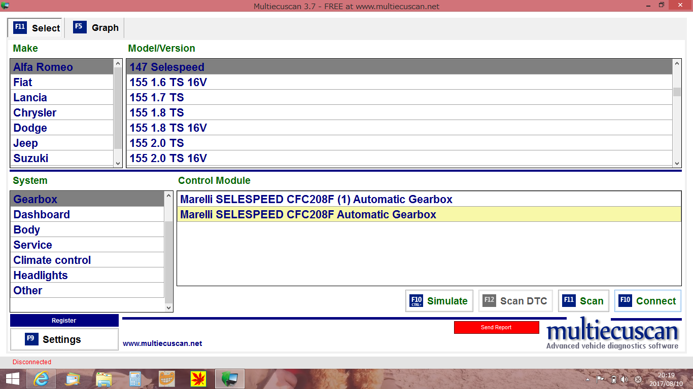 alfa147 multiecuscan(旧FiatECUScan)設定 〜 接続成功 エラー消去