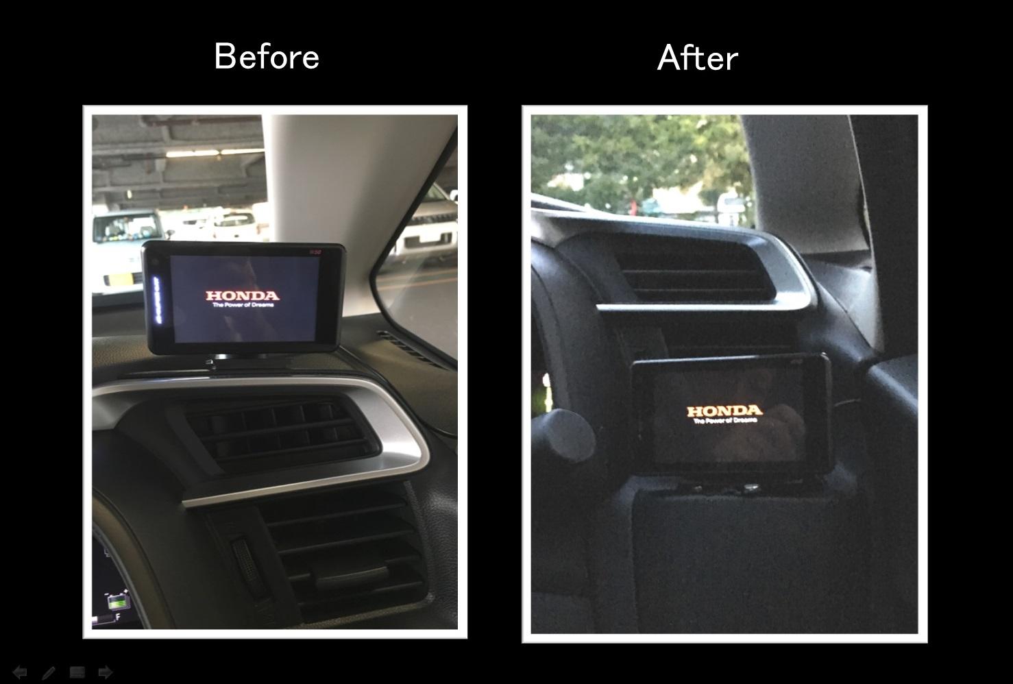 レーダー探知機の起動画面変更と取付位置の変更