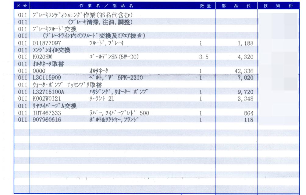 車検(15年目)+オルタネーター取替+ウォーターポンプ取替