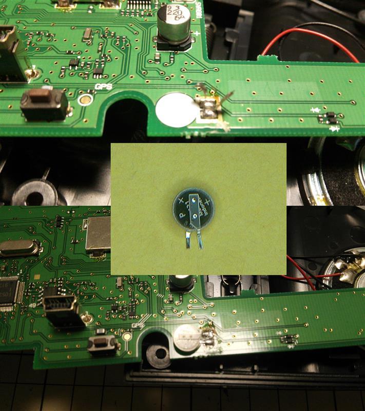 レーダー探知機バックアップ充電池交換