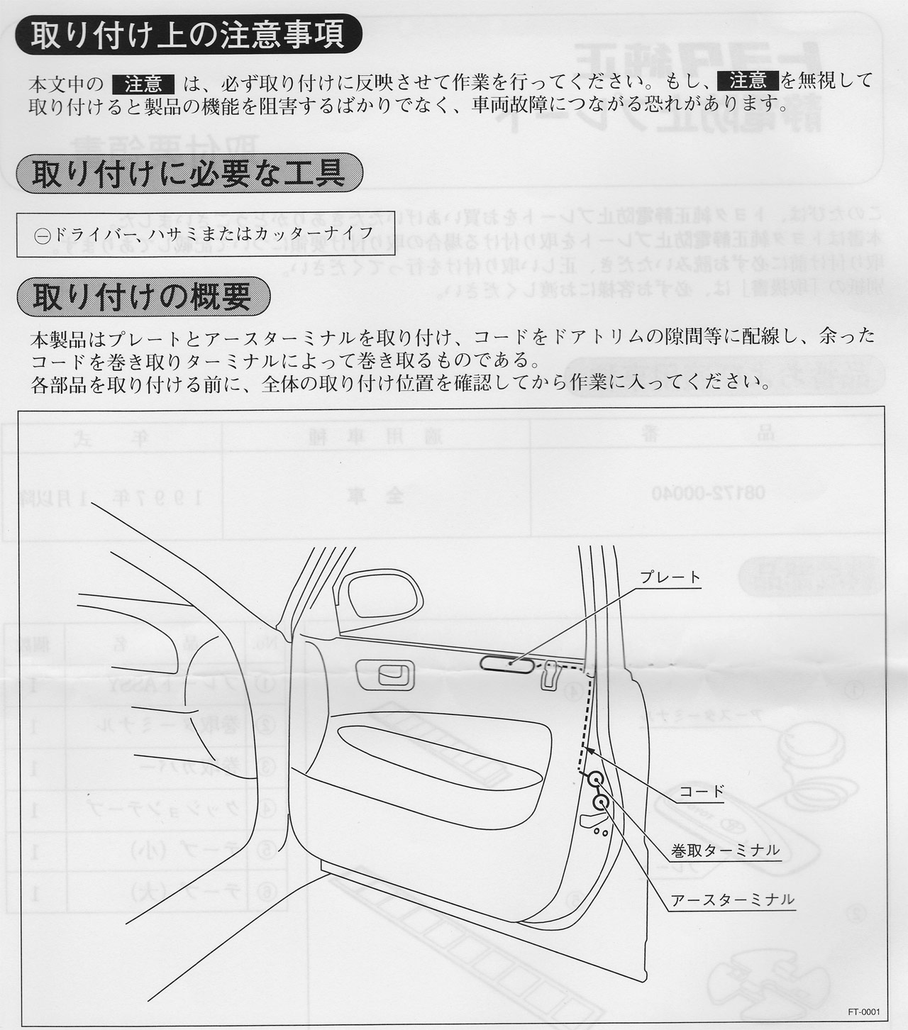 静電防止プレートの取り付け - その1 再利用するリアドア用の準備編