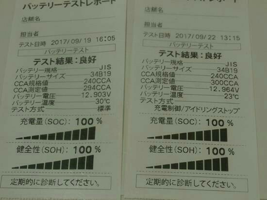 42ヶ月点検(6ヶ月点検)+電装品用12V鉛バッテリーCCA値測定 170919