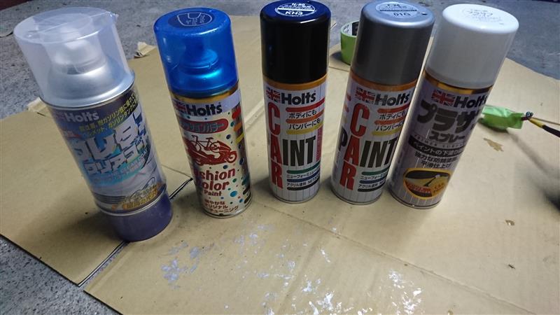 サイドミラー 缶スプレーで塗装