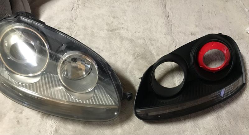 純正ヘッドライト塗装・COBイカリング取付-3