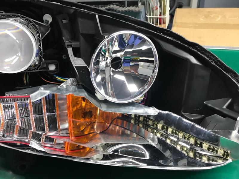 純正ヘッドライト塗装・COBイカリング取付-4
