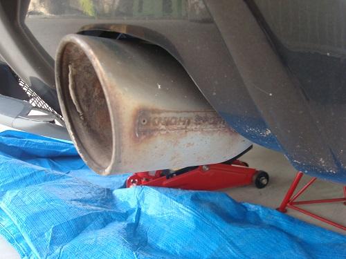 リアブレーキローター塗装とマフラー掃除