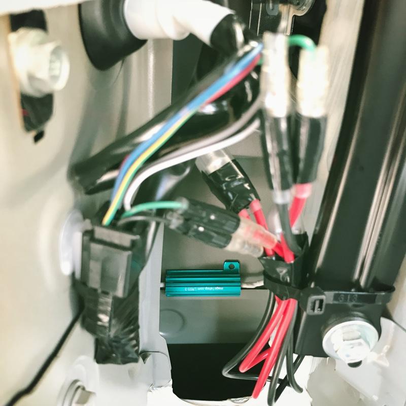 ウインカー抵抗設置 ハイビーム、ライセンス、バックライトLED化