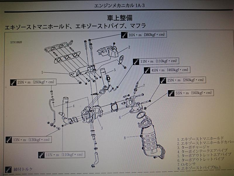 エンジンメカニカル1A-3 エキゾーストマニホールド