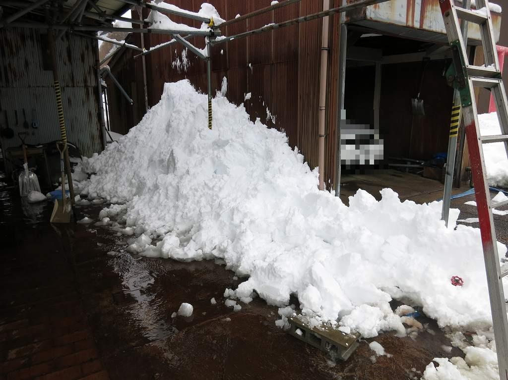 自作カーポート雪おろし