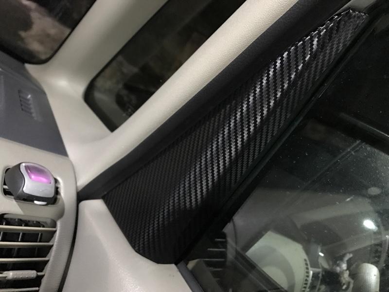 サイドミラーインテリアパネルカーボンシート貼り付け