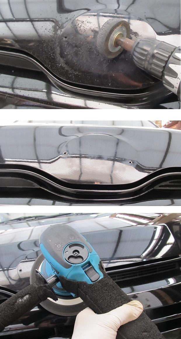 ②残ったノリの除去<br />  新車かそれに近い状態であれば指先だけで残ったノリは除去できると思いますが、もう一年以上経過した車でしかも気温の低い冬期とあればそう簡単には取れません。<br />  熱湯かけてノリを柔らかくして爪でポリポリ...というのも結構ですが、これだとすごく時間がかかってしまいますしこれが意外とキズも入ってしまうものですから、<br />  ここは迷わずトレーサーでサッと除去するのが賢明かと思えます。ものの数分で安全に完全除去できます。<br /> ※なお、このトレーサー(消しゴムのお化けのようなもの)は、何も機械仕掛けでなくともそれを手に取っての人力(まさに消しゴムを使うように使用する)でも充分役立ちます。<br /> ※ここでもつい爪先やヘラ等を使いたくなるものですが、致命的な線キズが入る恐れがありますので絶対に(爪やヘラ等を)使ってはいけません。トレーサーは(たとえば写真のような)クモリは出ても致命的なキズはまず入りませんから安全で心配無用です。<br /> <br /> ③キレイに磨く<br />  トレーサーによって発生したクモリ、これは外傷ではなくただのクモリですから簡単に落ちます。<br />  ここではポリッシャーミガキしましたが手ミガキでも十分きれいな肌に戻せます。<br />