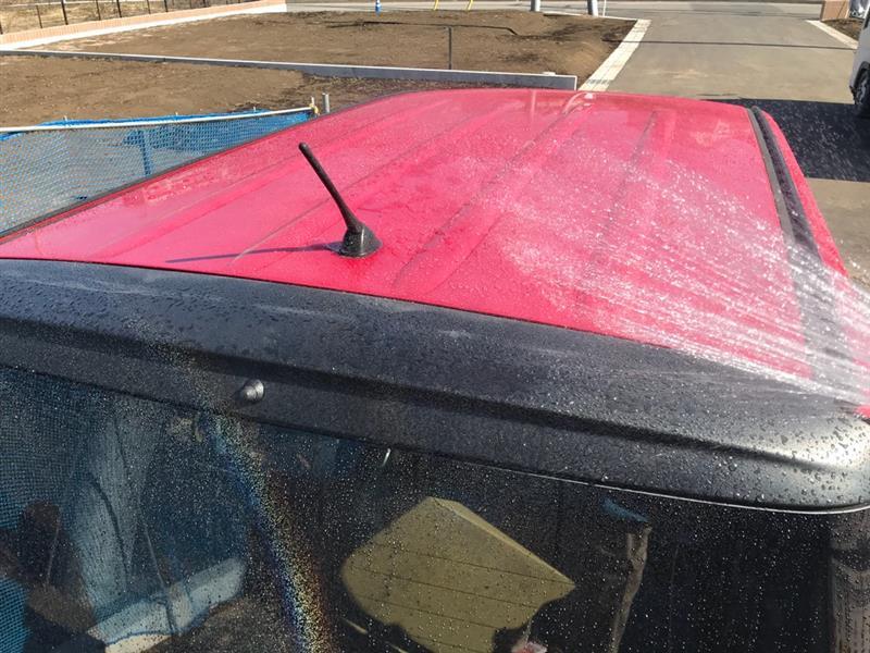 現場にて…簡単な洗車