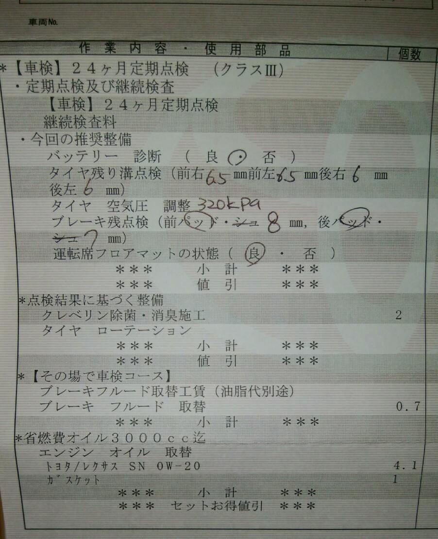 3年目の初車検(覚書)