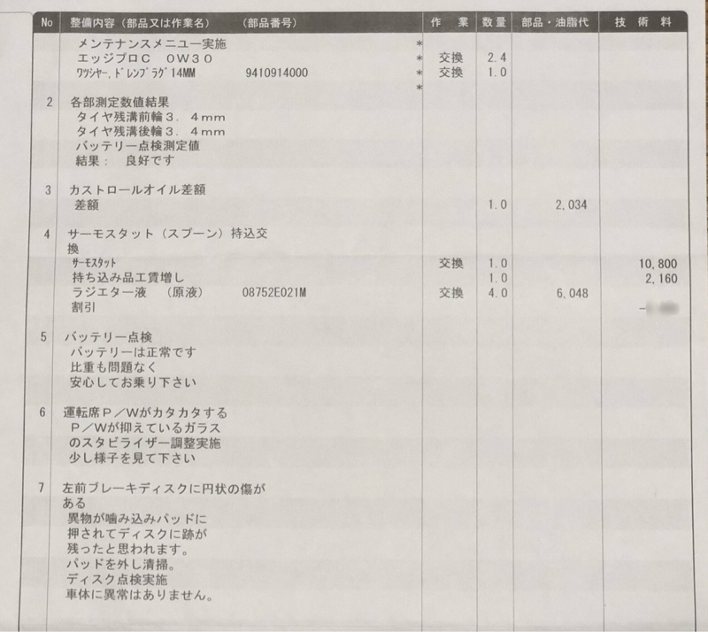 30ヶ月点検&SPOONサーモスタット交換❗️備忘録