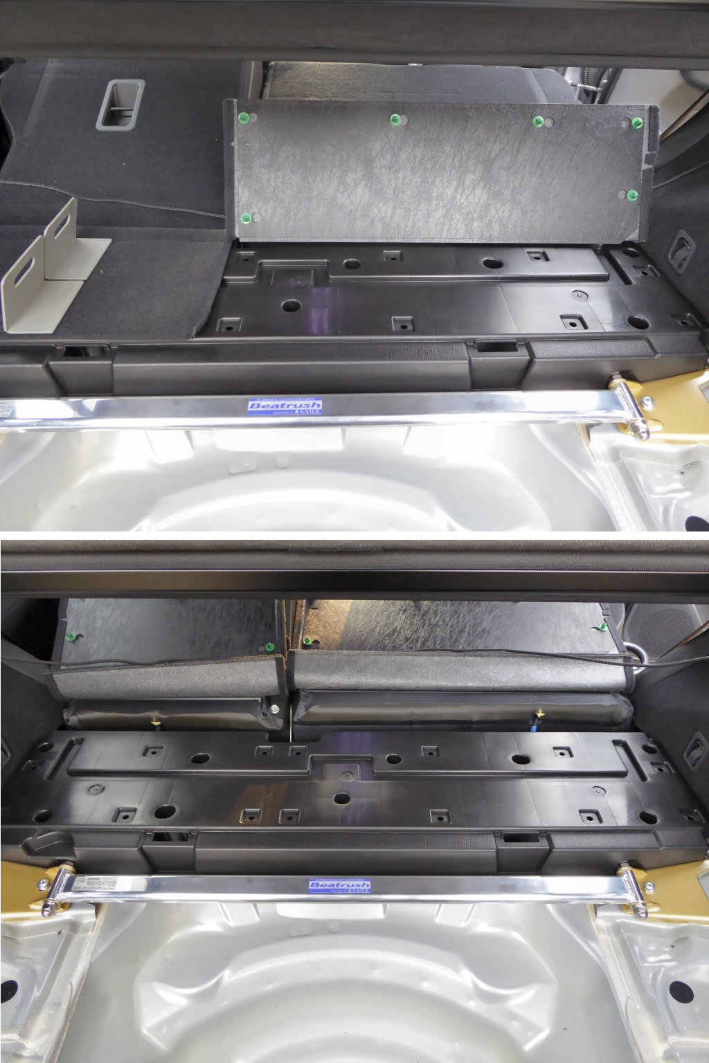 荷室フロア左右端補強プレート増し締め