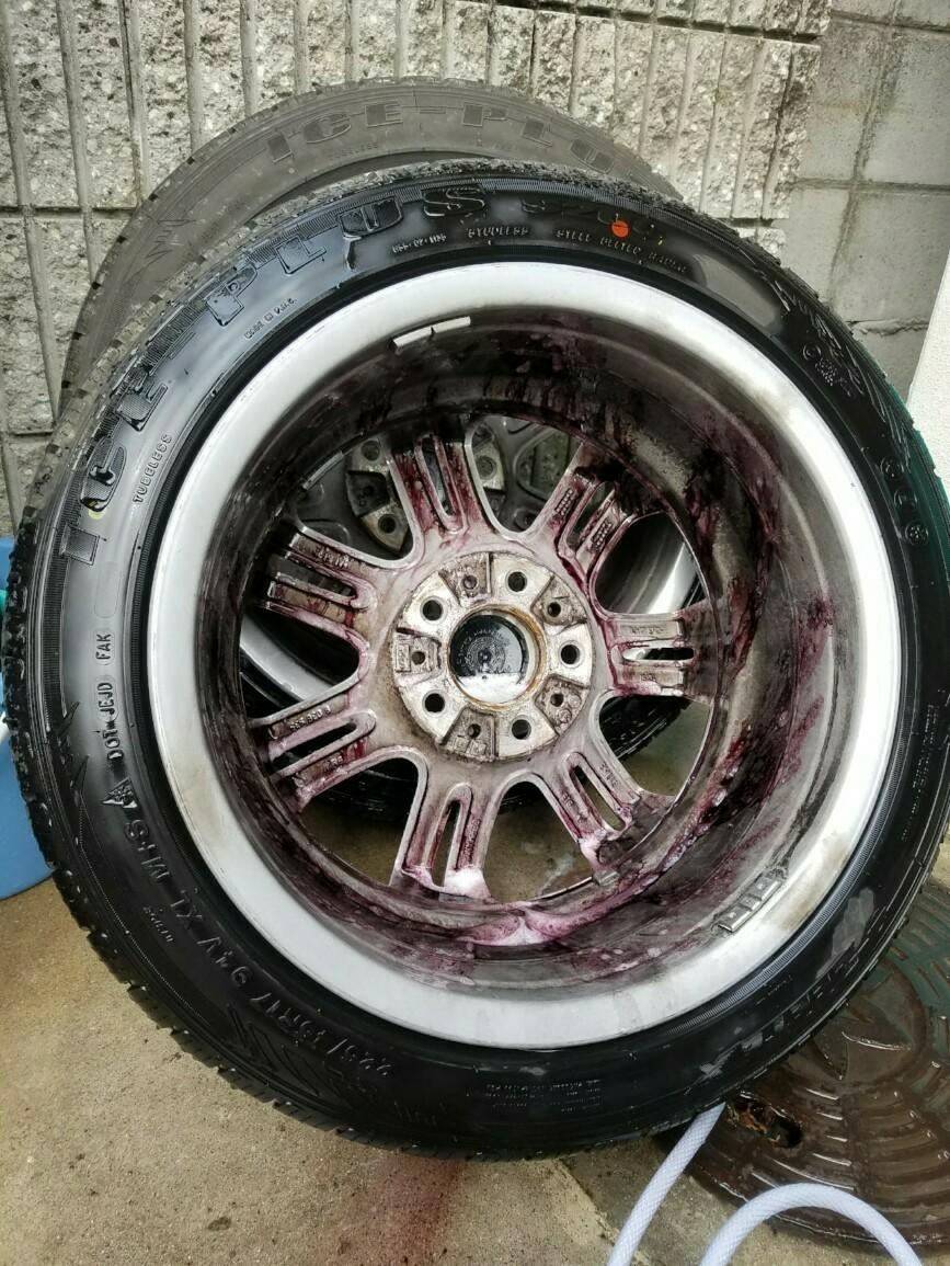 冬タイヤの清掃