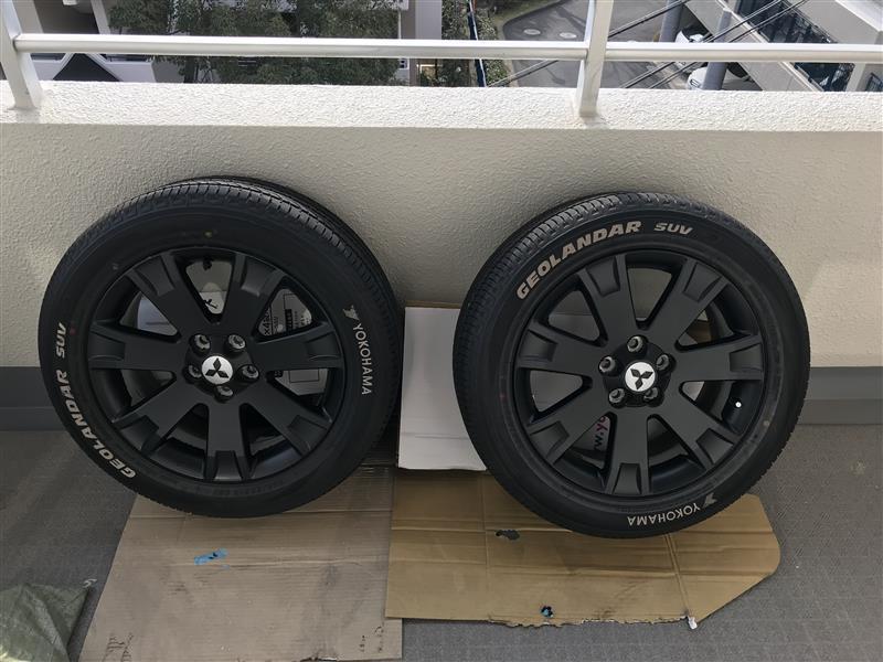 タイヤホイールマッドブラック塗装(ラバースプレー)