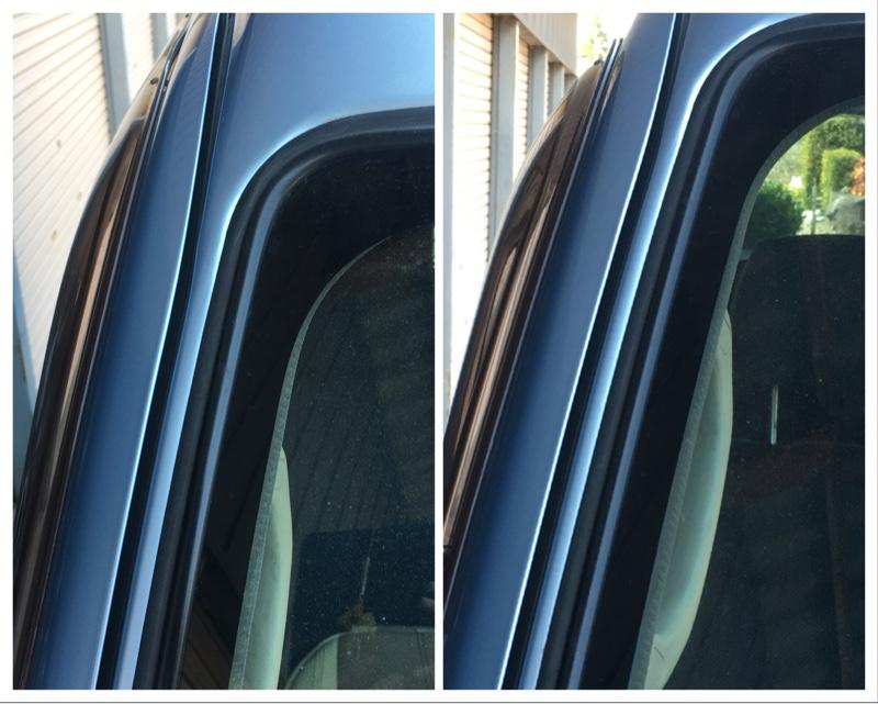 左右フロントドアの位置調整、Aピラー風きり音の解消