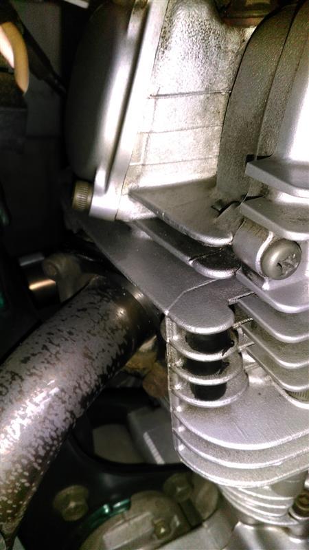 タペットカバーEX側オイル漏れとチェンジシャフトの下辺りからもオイルが垂れて来とるぞなもし