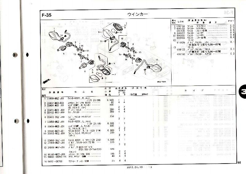 CBR400R(EBL-NC47):フロントウィンカー(左)交換(備忘録)
