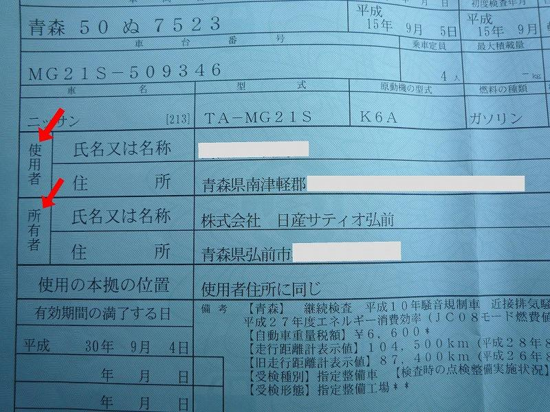 車検証の所有者の項目をショップ→個人へ(所有権解除手続き)