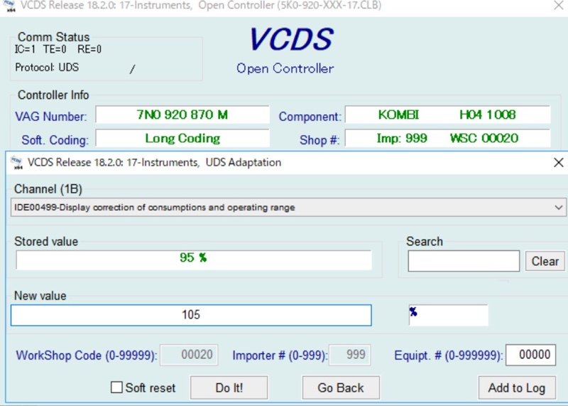 VCDS Coding ~Fuel consumption rate adjusted#2