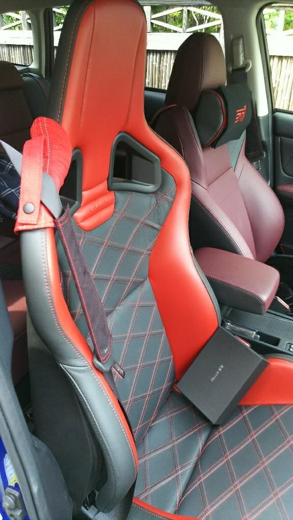 Shuu☆謹製  RECARO Sportster専用シートベルトガイド(Red×Silver)運転席側