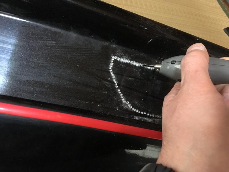 リアアンダーにバックフォグと塗装①