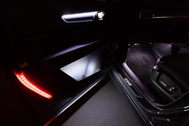 自作カーテシランプとドアオープン後方警告用LED設置(助手席側)