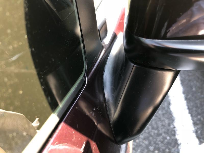 ドアミラーベース(内側)の劣化対策(靴墨編)