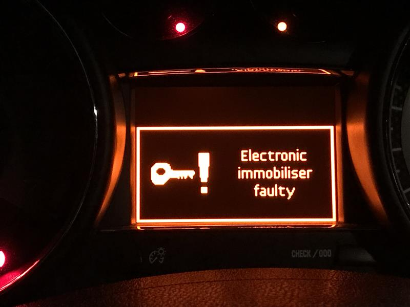 Electronic immobiliser faulty