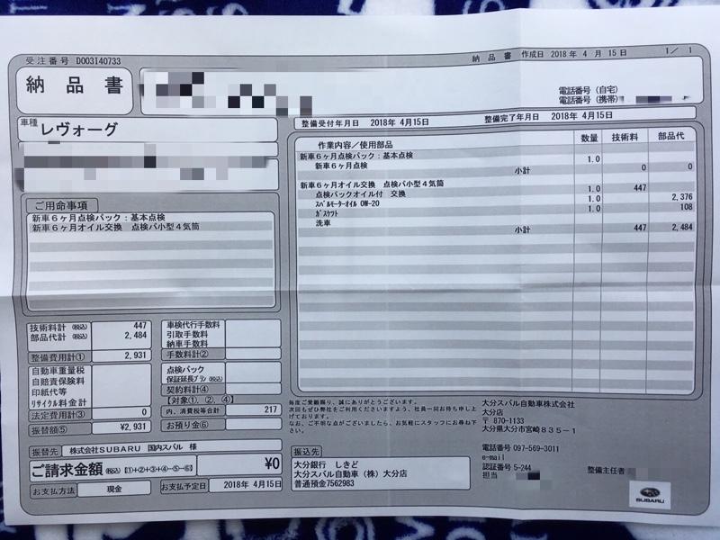 2018.4.15(日)新車6ヶ月点検&洗車(7回目)【春DM】