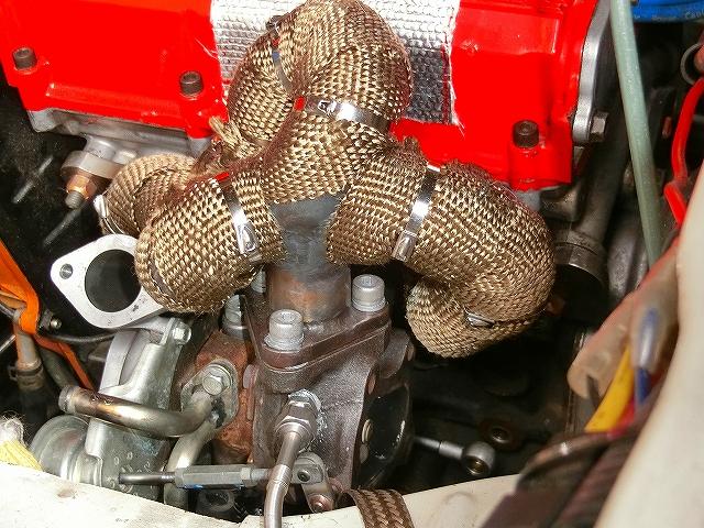 カプチーノ 排気温度計取り付け、排気漏れの修理