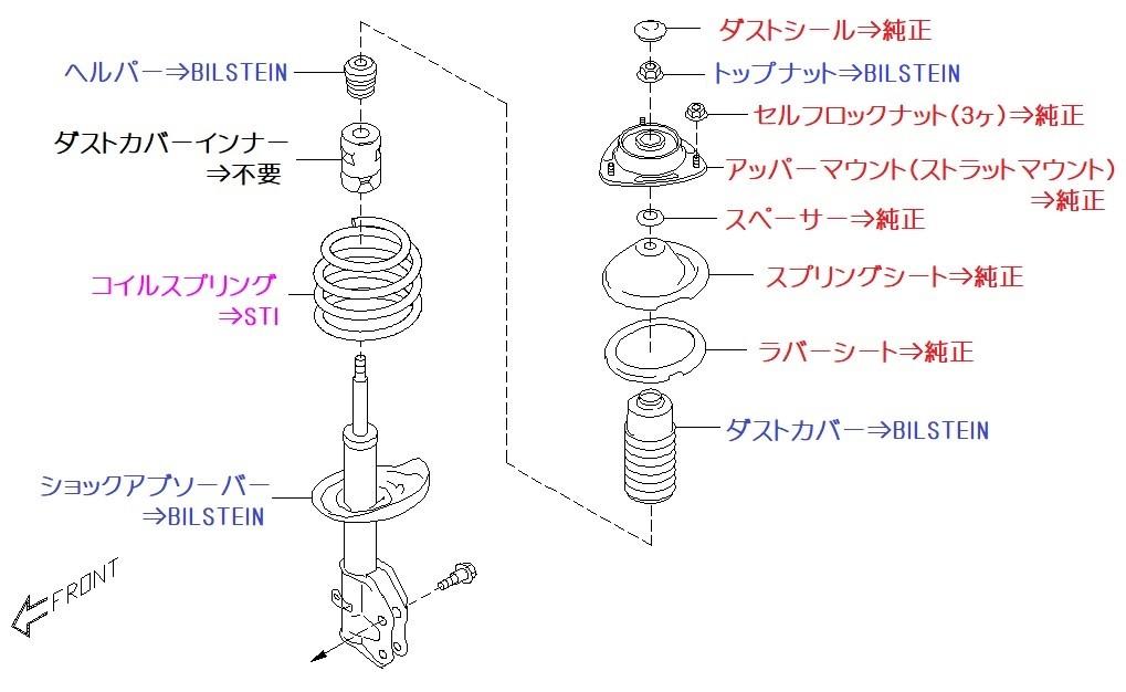 ビルシュタイン B6+STI コイルスプリングに交換 フロント編!(1/2)