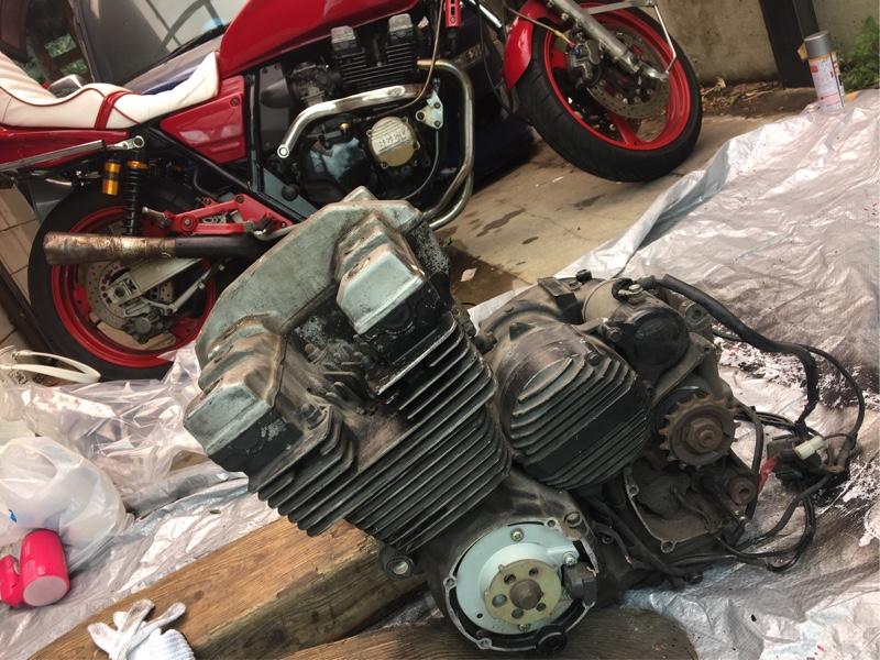 XJR400 エンジン載せ替え