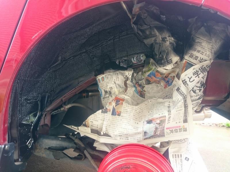 リアのみタイヤハウス ブラック塗装化(123,423km)