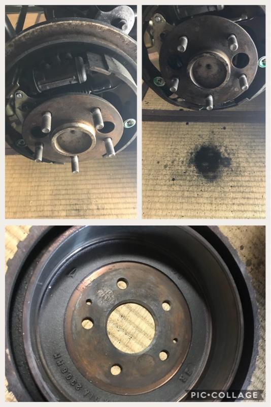 ドラムブレーキ清掃とフロントブレーキパッド分解